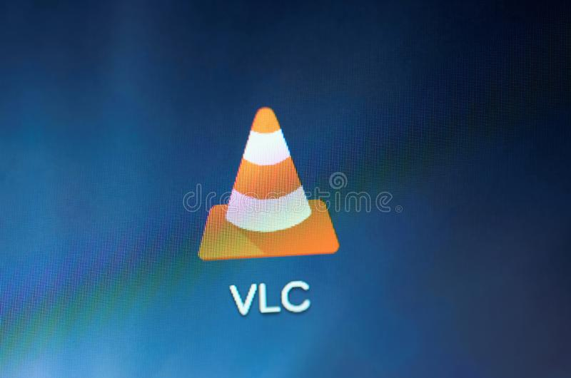VLC media player. SARANSK, RUSSIA - CIRCA, 2016: A smartphone screen shows VLC media player icon on the screen. Selective focus stock images