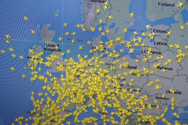 Flightradar24. Saransk, Russia - December 12, 2015: A computer screen shows details of flightradar24 main page on its web site in Saransk, Russia, on December 12 royalty free stock photo