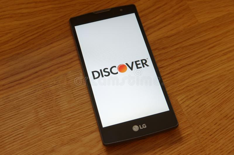 Discover Card. SARANSK, RUSSIA - JULY 23, 2017: Discover Card logo seen on smartphone screen stock images