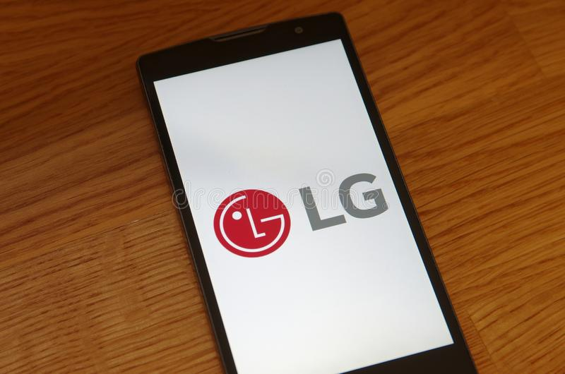 LG Corporation. SARANSK, RUSSIA - JULY 23, 2017: LG Corporation logo seen on smartphone screen royalty free stock photos