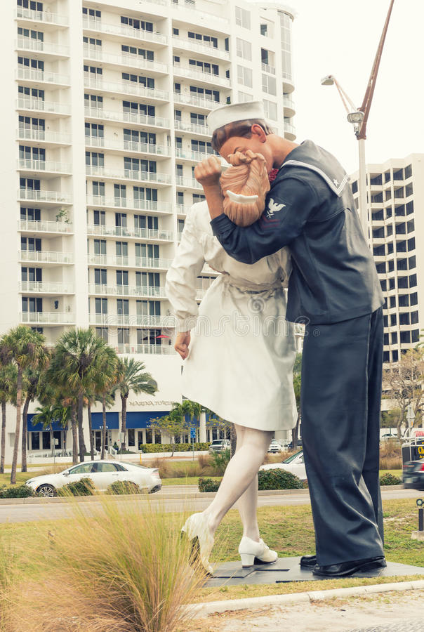SARASOTA, FL - JAN 13: The statue titled Unconditional Surrende royalty free stock photos