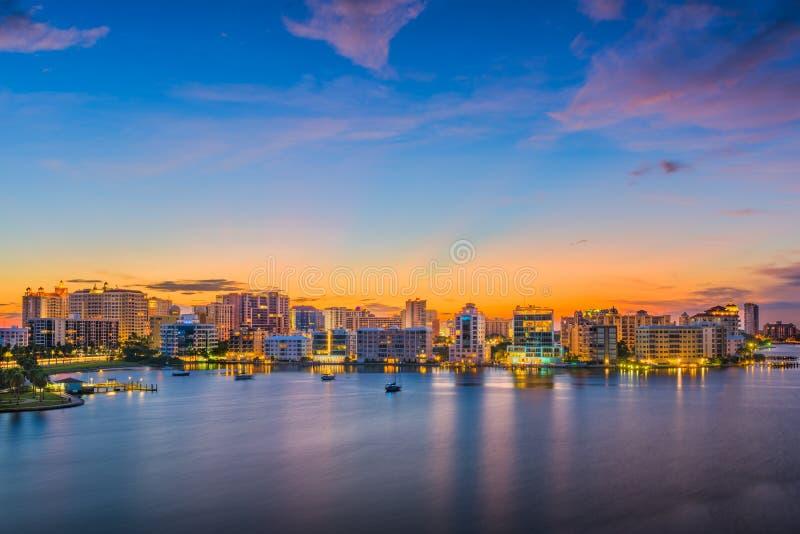Sarasota, Florida, USA. Downtown skyline on the bay royalty free stock image