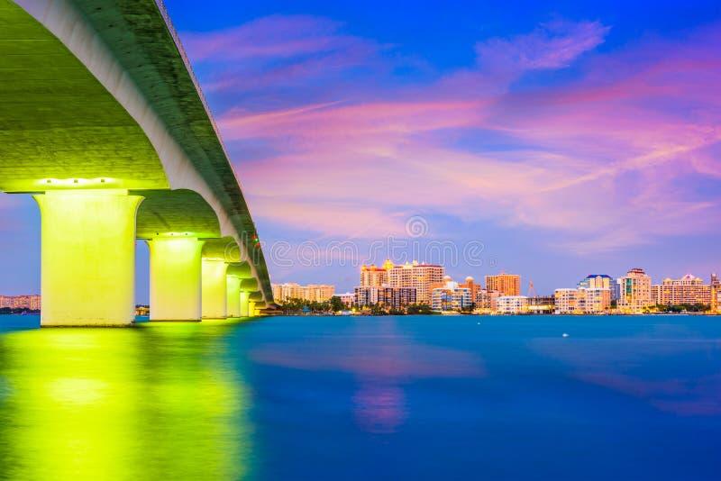 Sarasota, Florida, USA. Skyline under the bridge royalty free stock photography