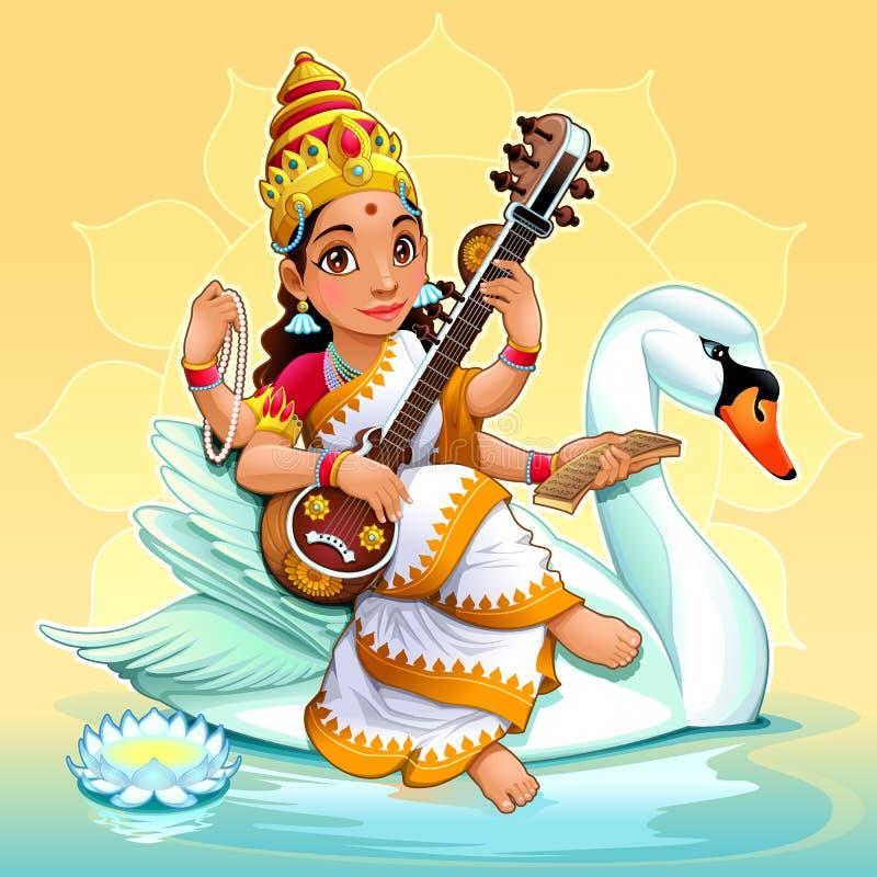Sarasvati, deusa hindu do conhecimento, das artes e da aprendizagem ilustração stock