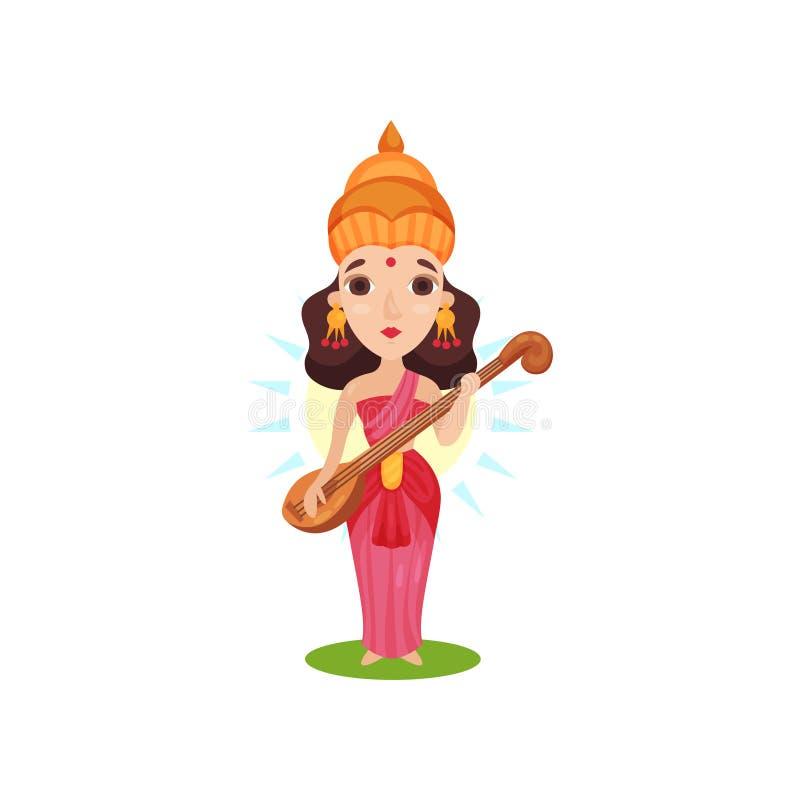 Saraswati Indian goddess of knowledge, arts, music, wisdom and learning cartoon vector Illustration on a white. Saraswati Indian goddess of knowledge, arts vector illustration