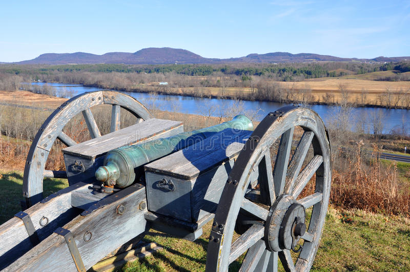 Saratoga National Historical Park, New York, USA. Cannon pointing to Hudson River in Saratoga National Historical Park, Saratoga County, Upstate New York, USA royalty free stock images