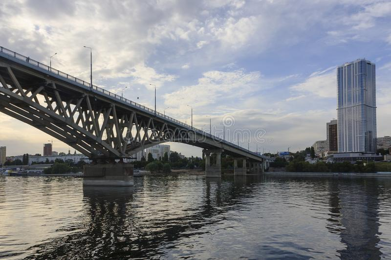 Saratov Bridge crosses the Volga River and connects Saratov and Engels, Russia length is 2,803.7 meters royalty free stock images