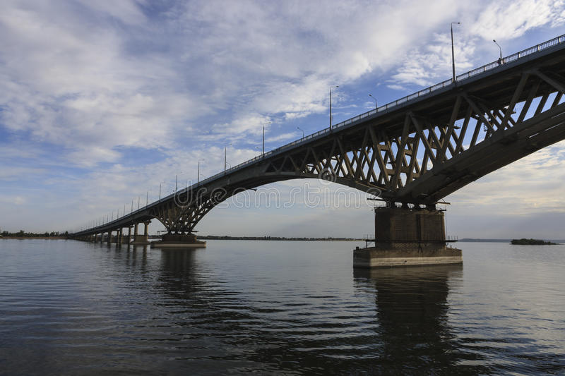 Saratov Bridge crosses the Volga River and connects Saratov and Engels, Russia length is 2,803.7 meters stock image