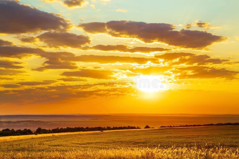 Saratov region, travel, landscape and nature of Russia. Yellow golden orange dramatic beautiful sunrise at dawn or dusk over royalty free stock images
