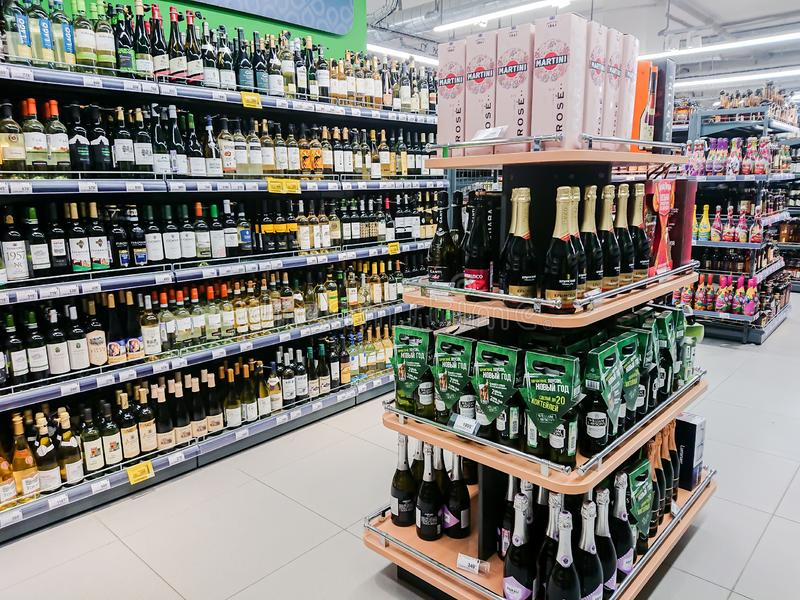 Saratov / Russia - February 5, 2019: Various alcoholic beverages on the shelves in the store stock images