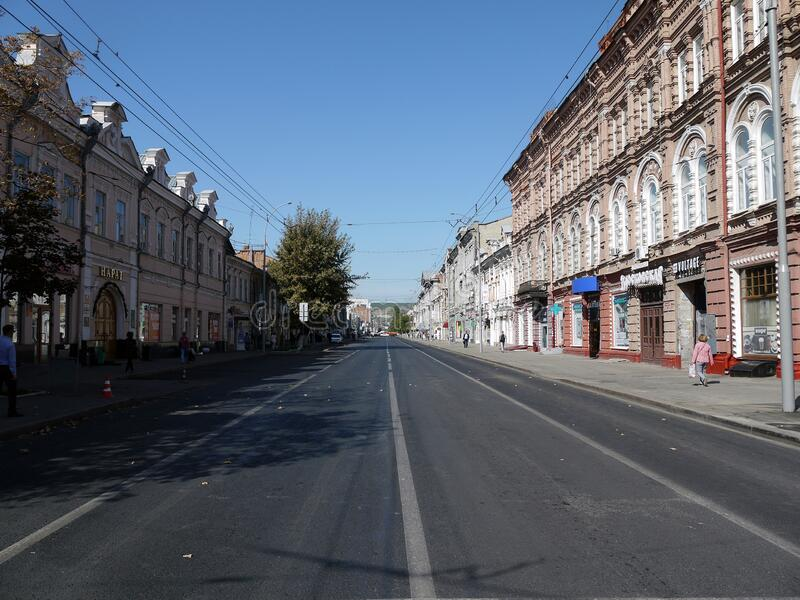 SARATOV, RUSSIA - SEPTEMBER 11, 2019: Lenin street in Saratov without cars. stock images