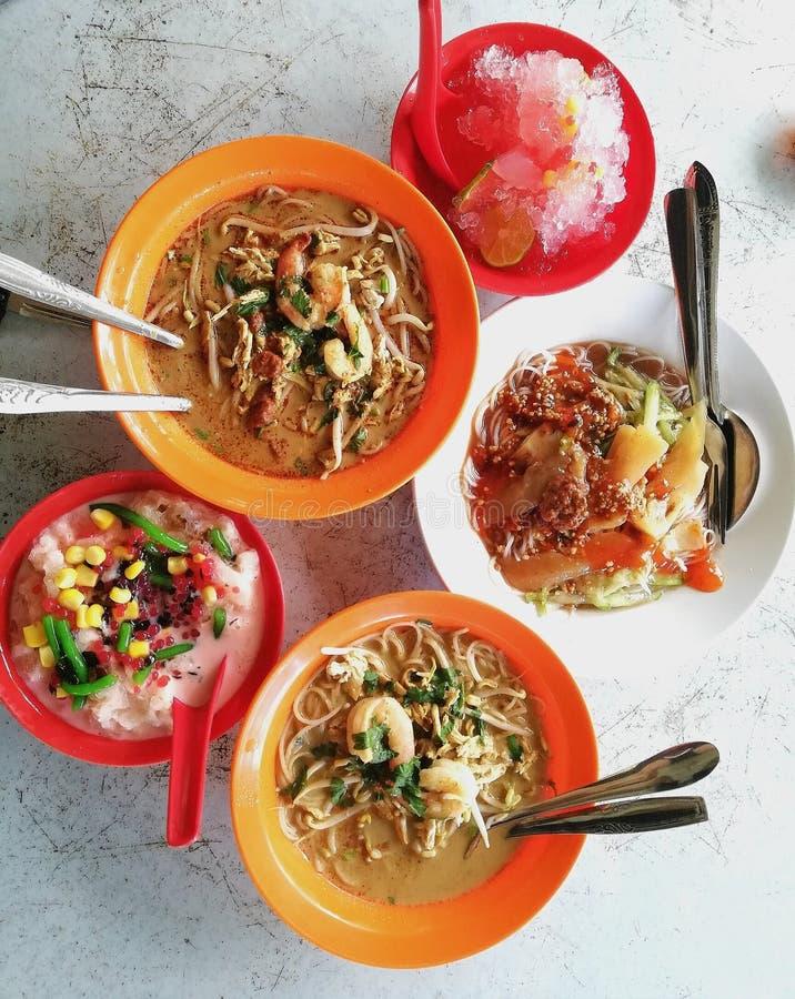 Sarawak laksa + belacan bee hoon + air batu campur/ice kacang stock photos