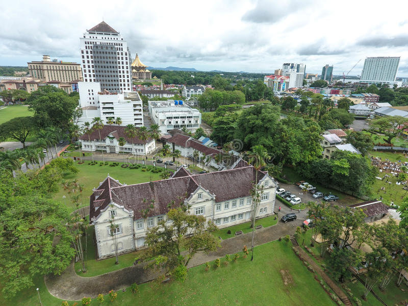 Sarawak Museum in Kuching, Sarawak, Malaysia. Aerial view of the Sarawak Museum in Kuching, Sarawak, Malaysia stock photo