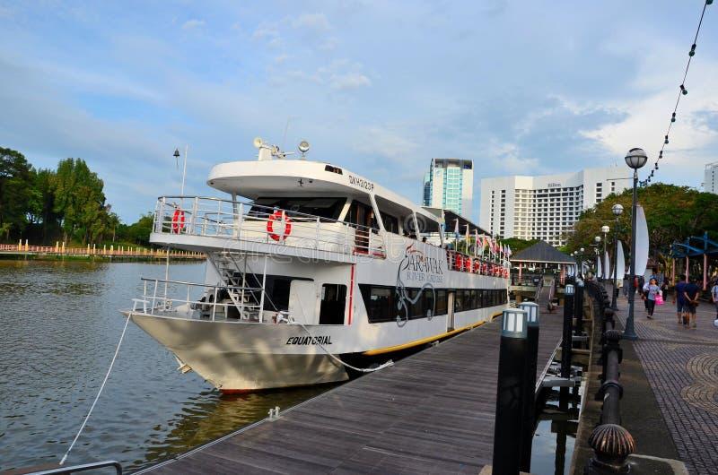 Sarawak River cruise tourism boat ferry with passengers awaits departure Kuching Malaysia. Kuching, Malaysia - October 10, 2018: The double deck Sarawak River royalty free stock image
