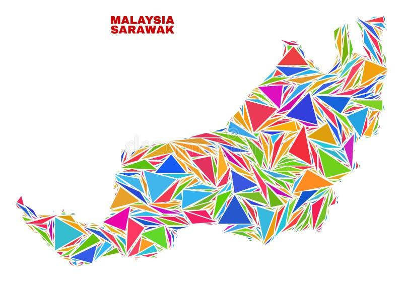 Sarawak-Zustands-Karte - Mosaik von Farbdreiecken lizenzfreie abbildung