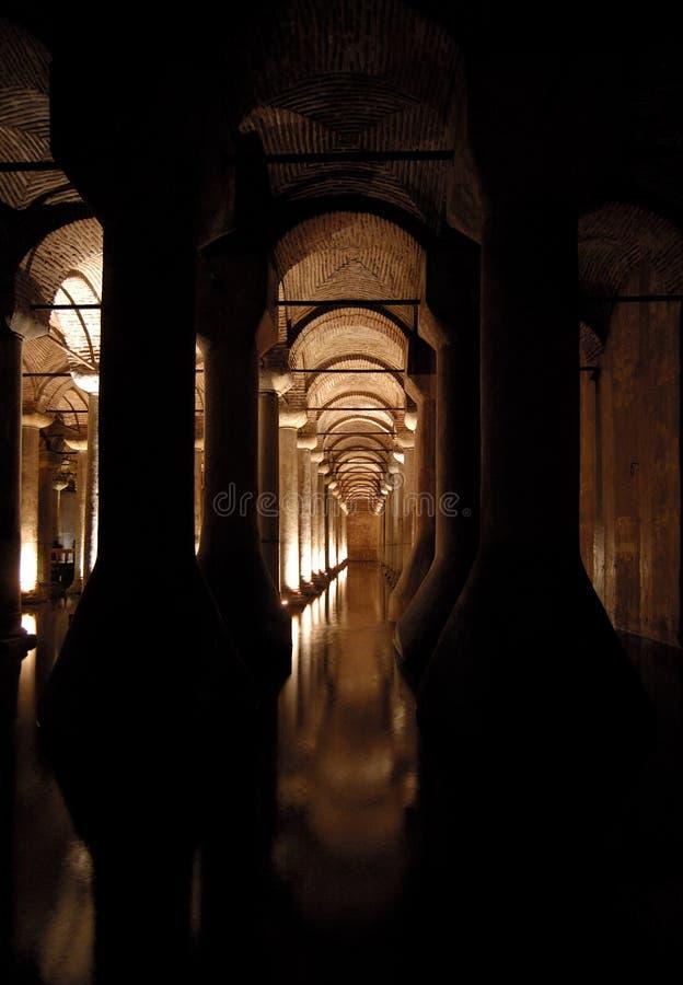 (Saray) sarnici van Yerebatan, het reservoir van de Basiliek. stock fotografie