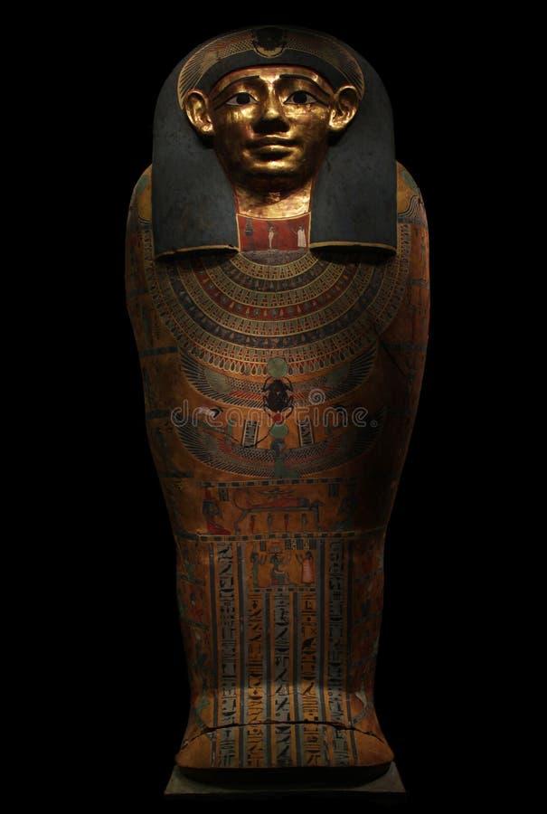 Sarcófago egípcio antigo dourado foto de stock