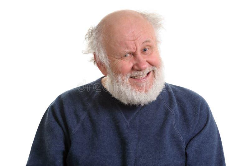 sarcasticly笑老人画象,隔绝在白色 免版税库存图片