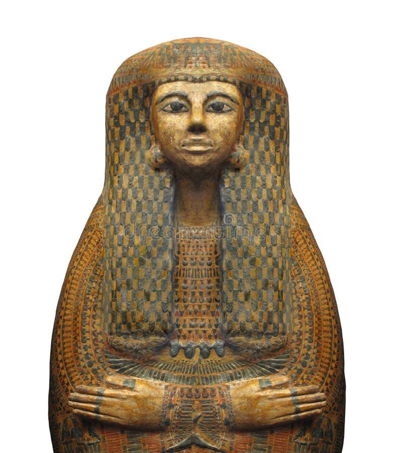Sarcofago egiziano antico isolato. fotografia stock