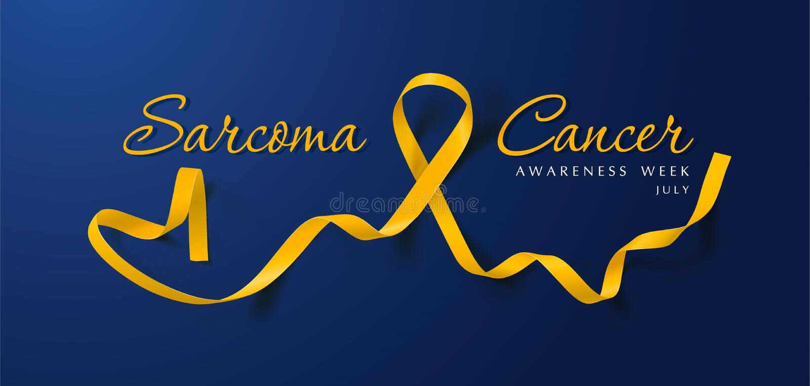Sarcoma and Bone Cancer Awareness Calligraphy Poster Design. Realistic Yellow Ribbon. July is Cancer Awareness Month. Vector Illustration royalty free illustration