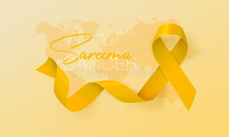 Sarcoma and Bone Cancer Awareness Calligraphy Poster Design. Realistic Yellow Ribbon. July is Cancer Awareness Month. Vector. Illustration vector illustration