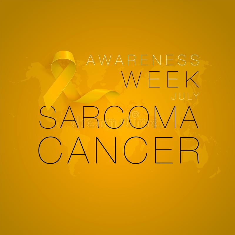 Sarcoma and Bone Cancer Awareness Calligraphy Poster Design. Realistic Yellow Ribbon. July is Cancer Awareness Month. Vector Illustration vector illustration
