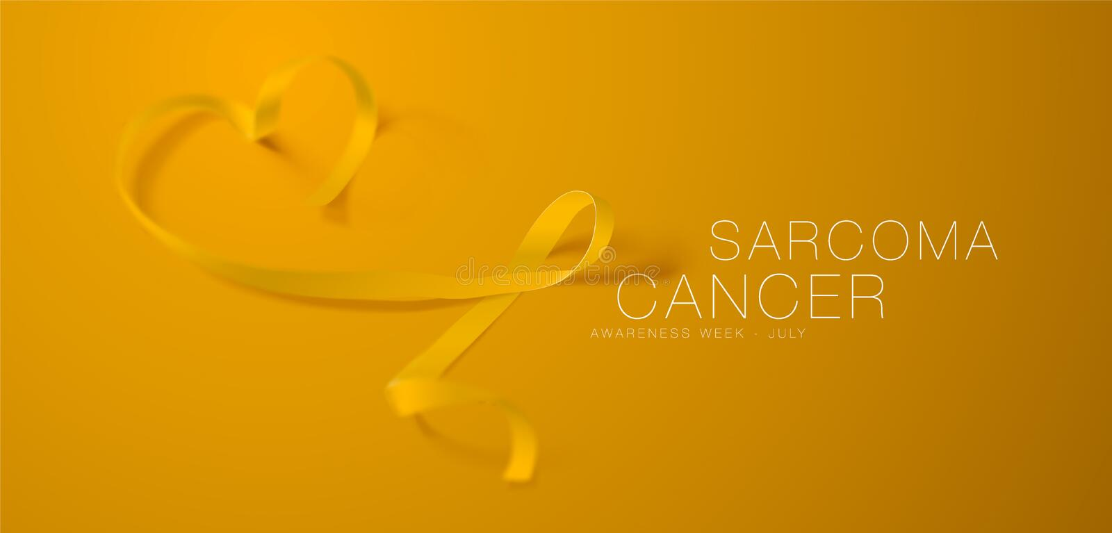 Sarcoma and Bone Cancer Awareness Calligraphy Poster Design. Realistic Yellow Ribbon. July is Cancer Awareness Month. Vector Illustration stock illustration