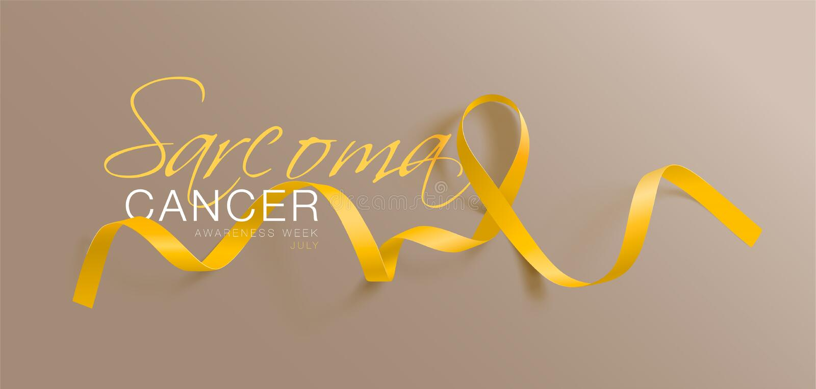 Sarcoma and Bone Cancer Awareness Calligraphy Poster Design. Realistic Yellow Ribbon. July is Cancer Awareness Month. Vector. Illustration royalty free illustration
