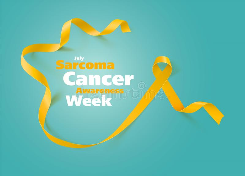 Sarcoma and Bone Cancer Awareness Calligraphy Poster Design. Realistic Yellow Ribbon. July is Cancer Awareness Month. Vector. Illustration stock illustration