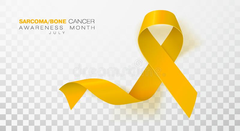 Sarcoma and Bone Cancer Awareness Week. Yellow Color Ribbon Isolated On Transparent Background. Vector Design Template. For Poster. Illustration vector illustration