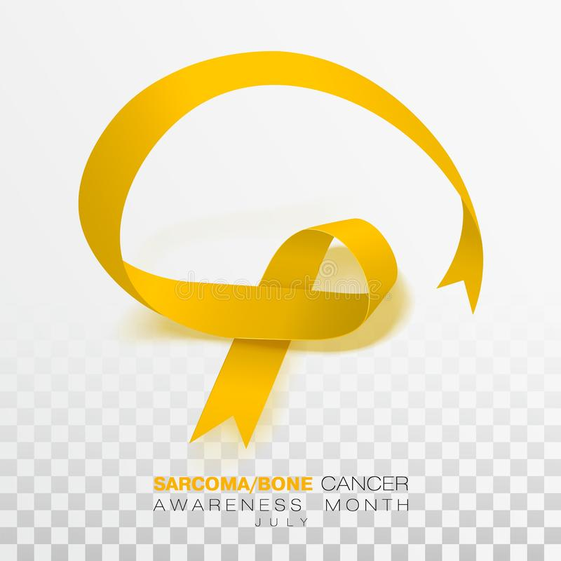 Sarcoma and Bone Cancer Awareness Week. Yellow Color Ribbon Isolated On Transparent Background. Vector Design Template For Poster. Illustration stock illustration