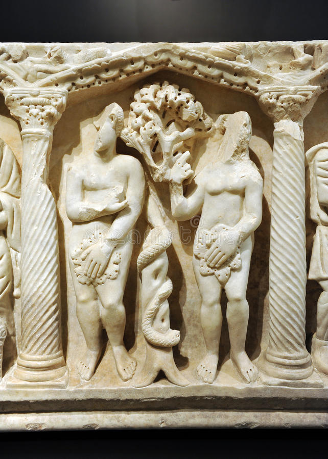 Sarcophage, Adam et Ève de Roman Early Christian photos stock