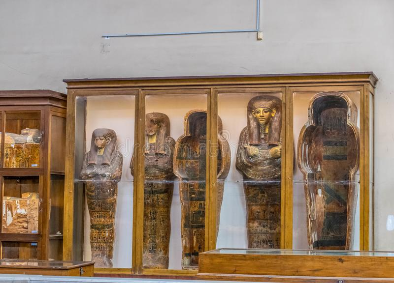 Sarcophagi of pharaohs and nobles in the Egyptian Museum. Hall with sarcophagi of pharaohs and nobles in the Egyptian Museum. Museum building in Cairo, built in stock image