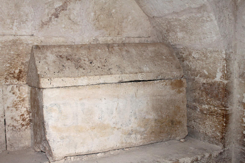 Sarcophagus. Small coffin at the Hirbet Madras, Israel stock images