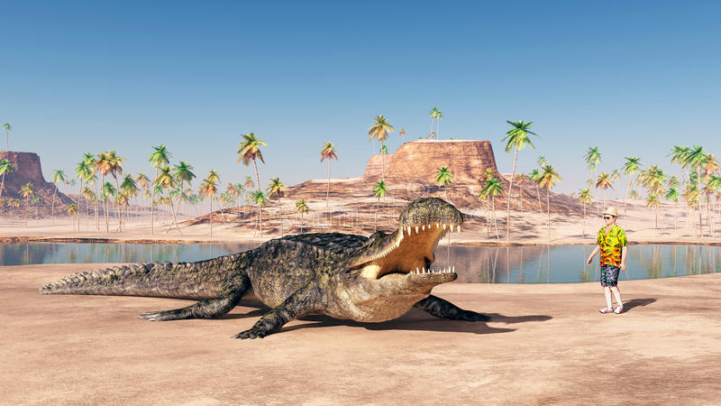 Sarcosuchus i turysta ilustracja wektor
