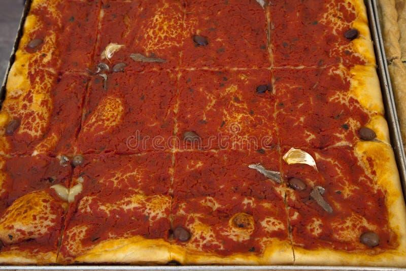 Sardenaira. Typical western ligurian riviera pizza called sardenaira royalty free stock images