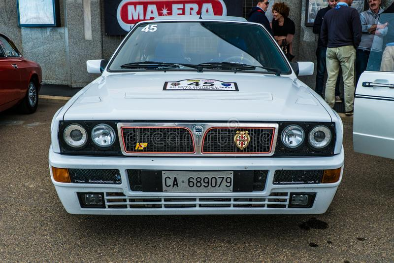 Sardi de los caballeros de Coppa, exposición de los coches, HF Integrale del delta de Lancia imágenes de archivo libres de regalías