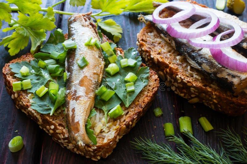Sardinas en el pan en las hojas del perejil asperjadas imagen de archivo libre de regalías