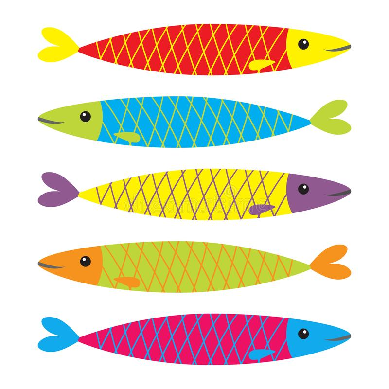 Free Sardine Colorful Fish Icon Set. Iwashi. Sardina Pilchardus. Cute Cartoon Character. Anchovy Pilchard. Water Animal. Marine Life. F Royalty Free Stock Images - 103119979