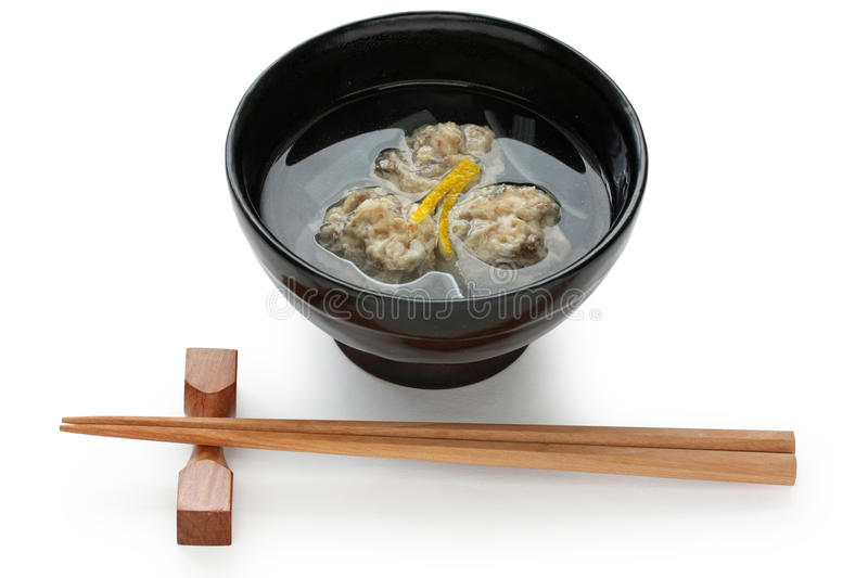 Sardine fish ball soup , japanese food. On white background royalty free stock image