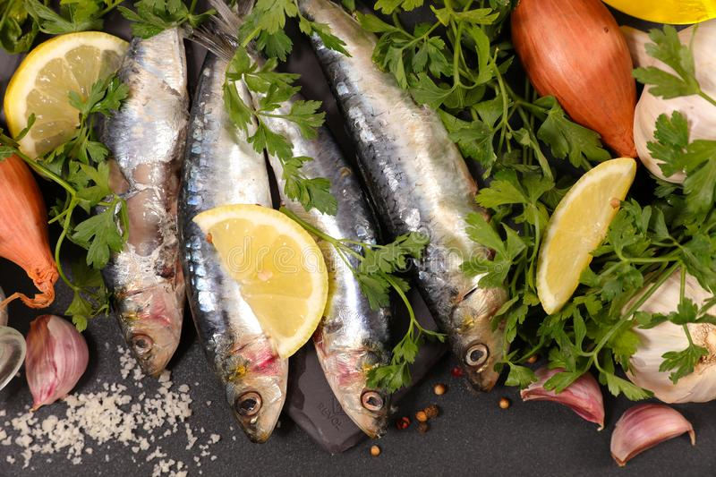Sardine fish and spice. Top view royalty free stock images