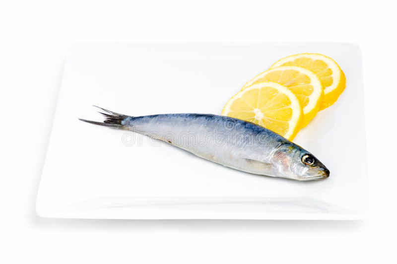 Sardine and lemon. S on a plate stock photography
