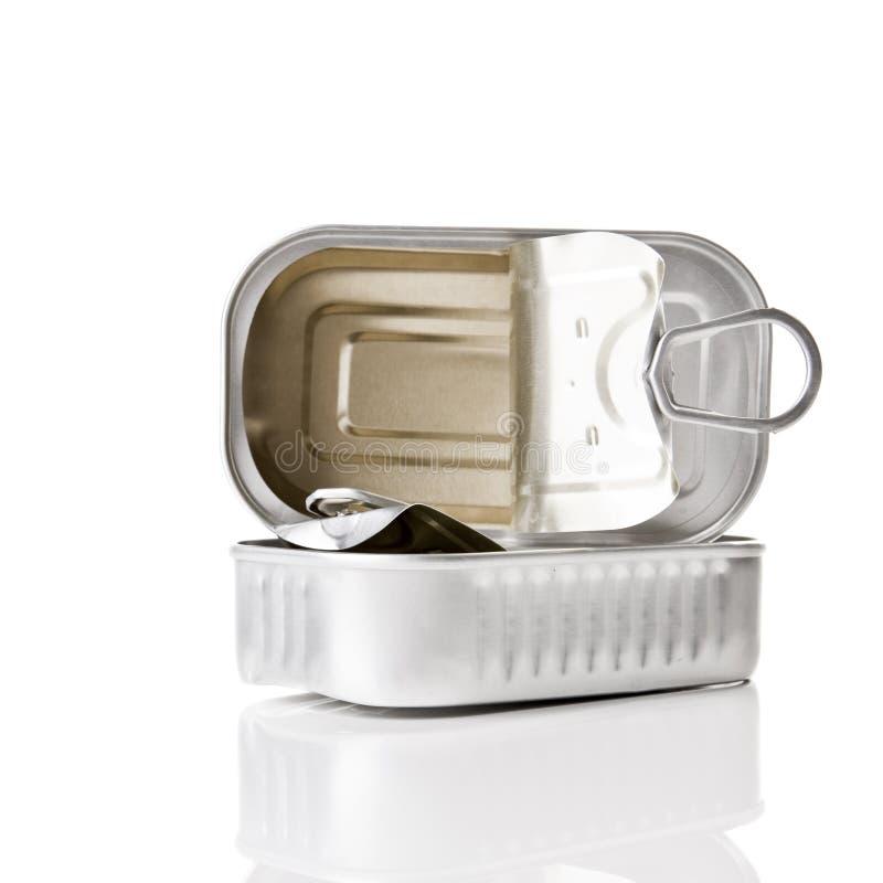 Sardine tin. Isolated over a white background stock photo