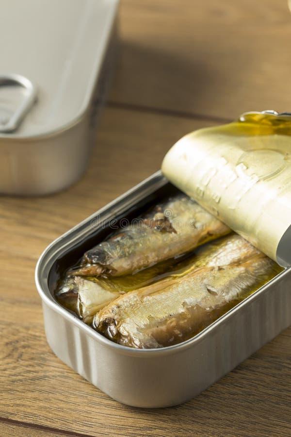 Sardines en boîte salées organiques photos stock
