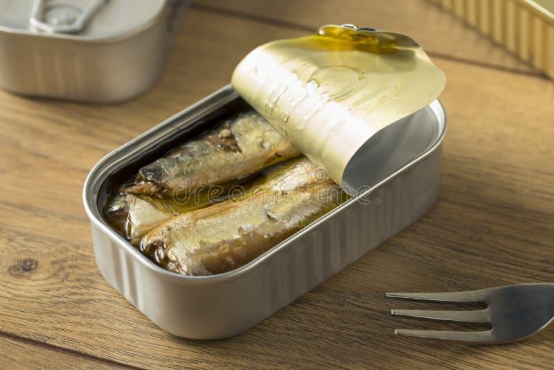 Sardines en boîte salées organiques photo stock