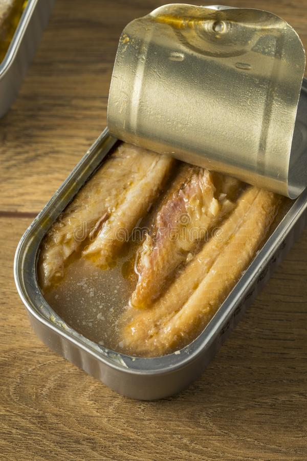 Sardines en boîte salées organiques image stock