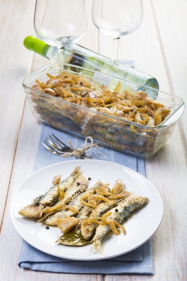 Sardines en marinade images stock