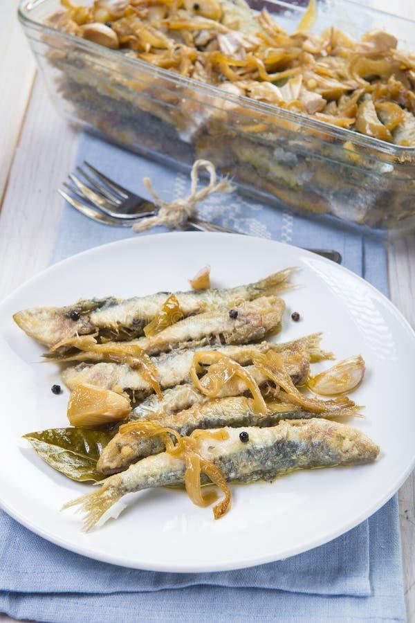 Sardines en marinade images libres de droits