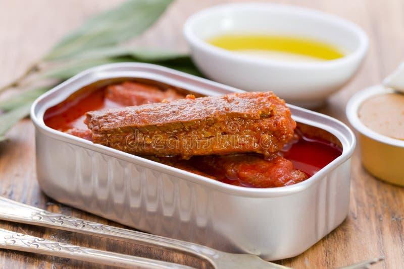 Sardines en sauce tomate dans la boîte photographie stock libre de droits