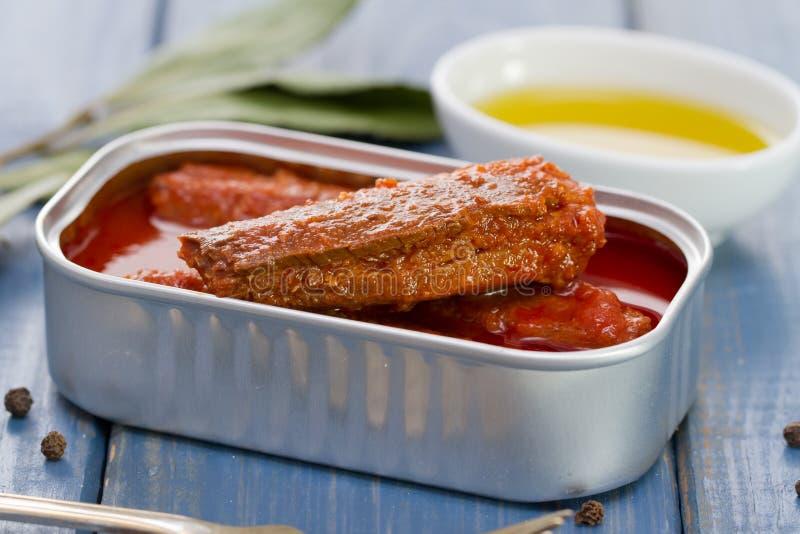 Sardines en sauce tomate dans la boîte image stock